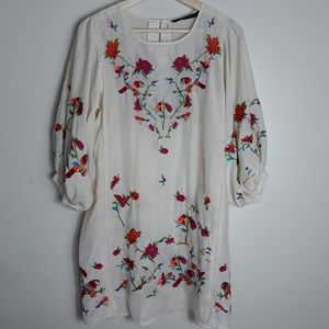 Zara| Embroidered Puff Sleeve Tunic Dress